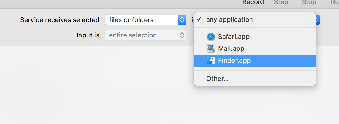 Set up the service to run on files and folers in Finder